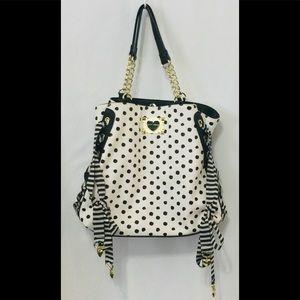 Betsey Johnson mix n match B&W stripe dots purse
